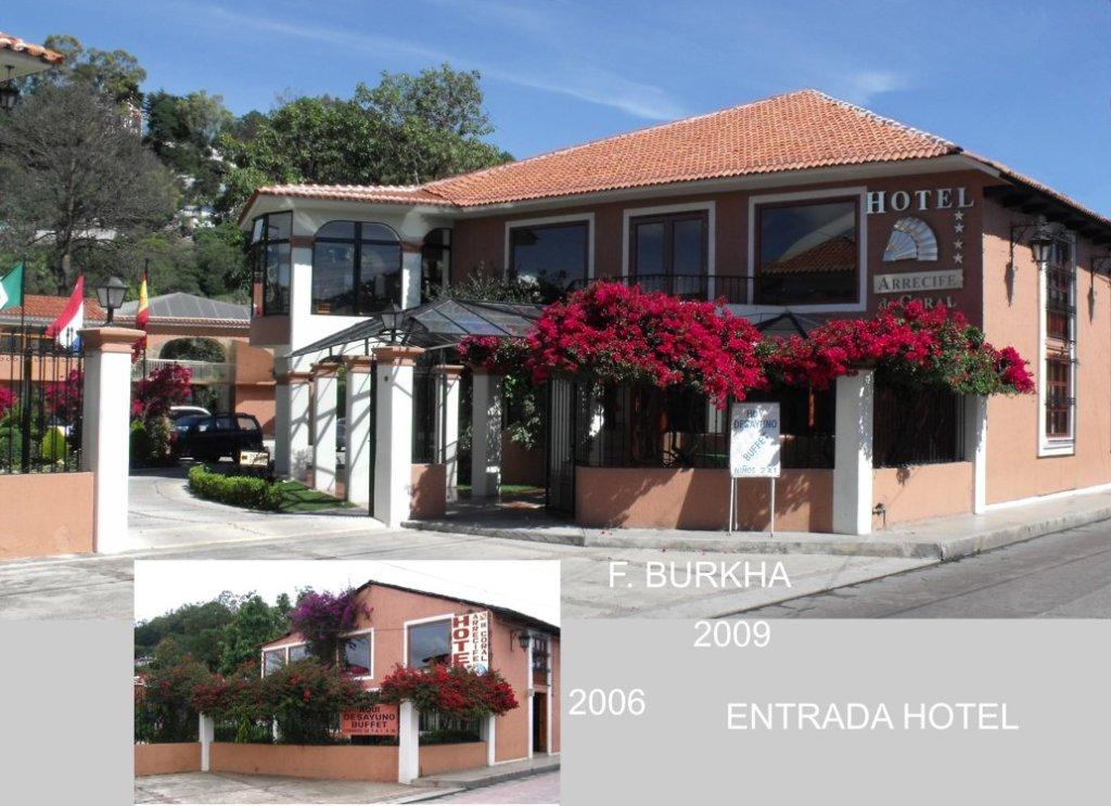 remodelación de la entrada principal del hotel; meta - equilibrar la fachada del restaurante y facilitar el acceso a los servicios propuestos ( hotel, restaurante, estacionamiento, jardin).