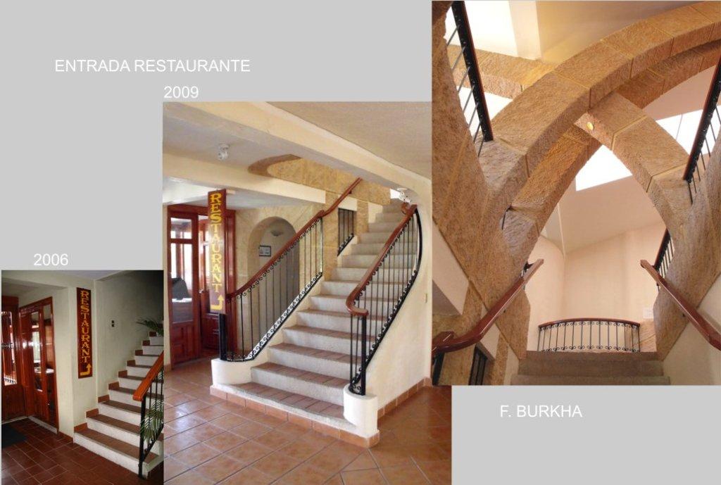 remodelación de la escalera de entrada al restaurante; meta - luminosidad y traer la atención sobre el acceso al restaurante.