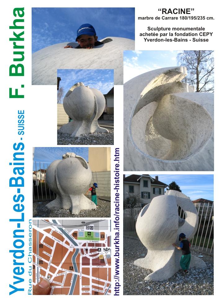 La sculpure RACINE se trouve actuellement a la rue du Chasseron, Yveron-Les-Bains, Vaud, Suisse.
