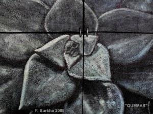 QUEMAS (détail), acrylique et cendres volcanique sur bois, acier, terre, 2008