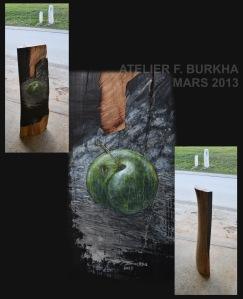 CENDRE  2013 acrylique et cendre sur cerisier 2/2    50/15/115 cm.