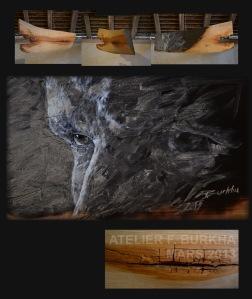 CENDRE  2013 acrylique et cendre sur cerisier 1/2    50/15/117 cm.