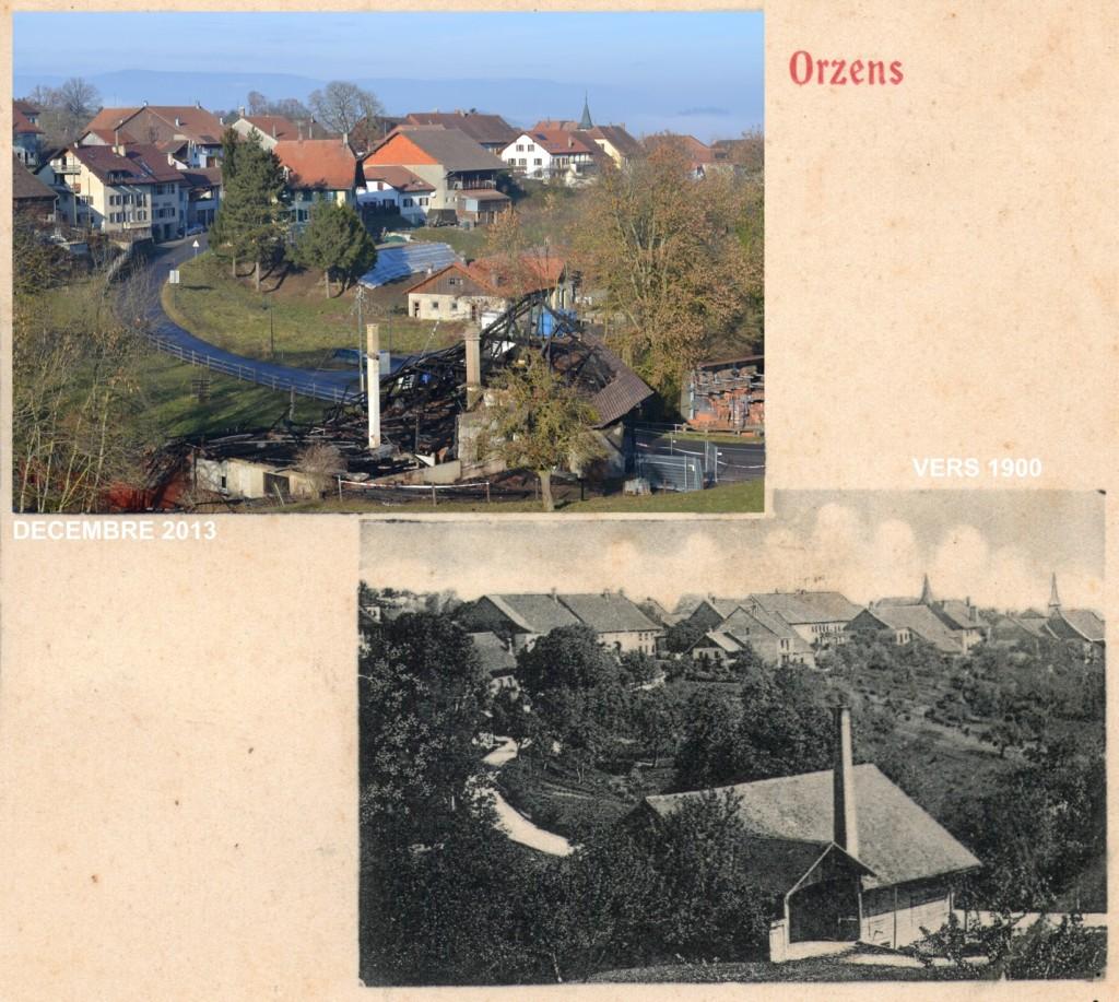 Le battoir d'Orzens avant d'être transformé en salle polyvalente. Le deuxième clocher, en arrière plan à droite était l'ancienne église d'Orzens, démolie en 1907.