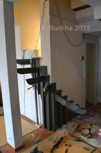 F Burkha sculpture escalier montage structure 2015