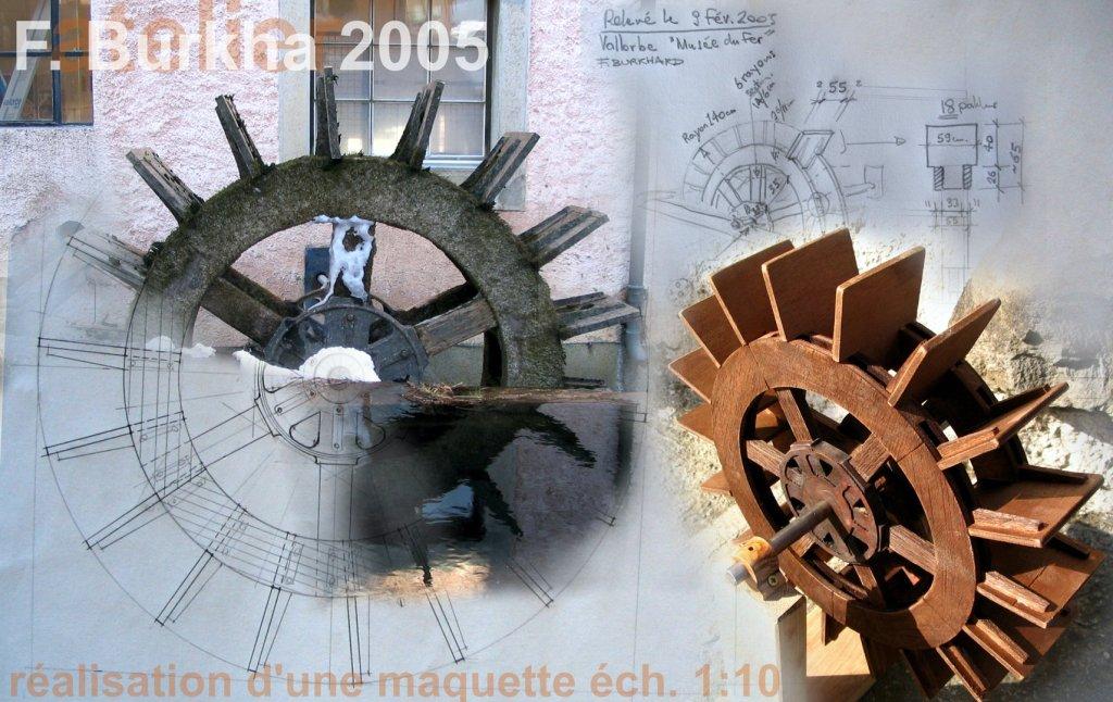 maquette roue moulin eau F-Burkha 2005